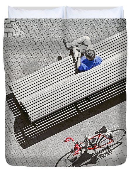 Duvet Cover featuring the photograph Bike Break by Keith Armstrong