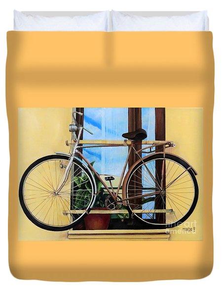 Bike In The Window Duvet Cover