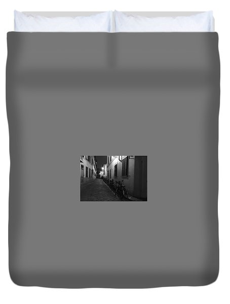 Bike Lined Alley Duvet Cover