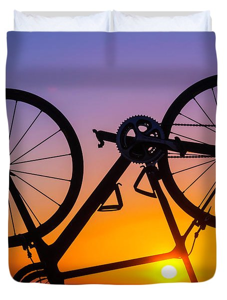 Bike On Seawall Duvet Cover