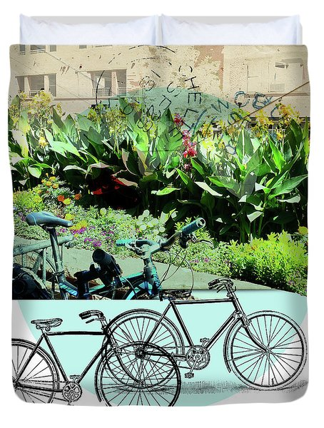 Bike Poster Duvet Cover by Deborah Nakano