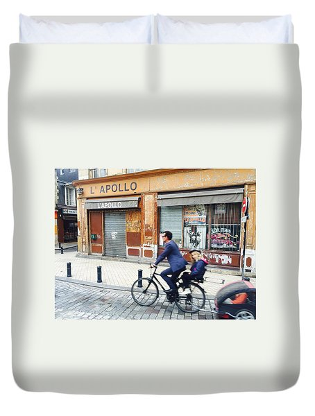 Bike Ride In Bordeaux By The Apollo Duvet Cover