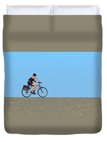 Bike Rider On Levee Duvet Cover