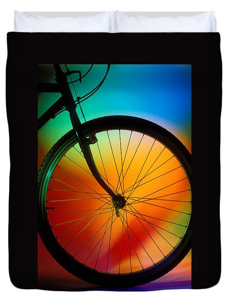 Bike Silhouette Duvet Cover by Garry Gay