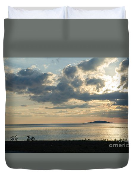Bike Silhouettes By The Coast Duvet Cover