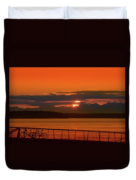 Bike Sunset Duvet Cover