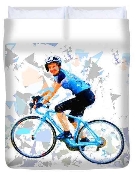 Duvet Cover featuring the painting Biker 1 by Movie Poster Prints