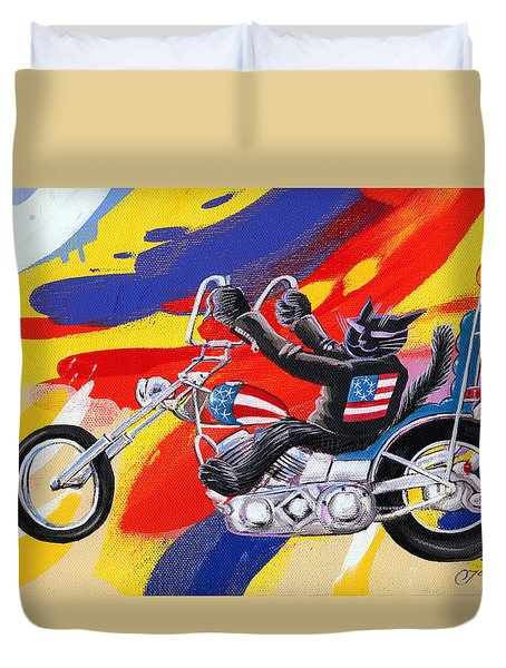 Biker Cat Duvet Cover
