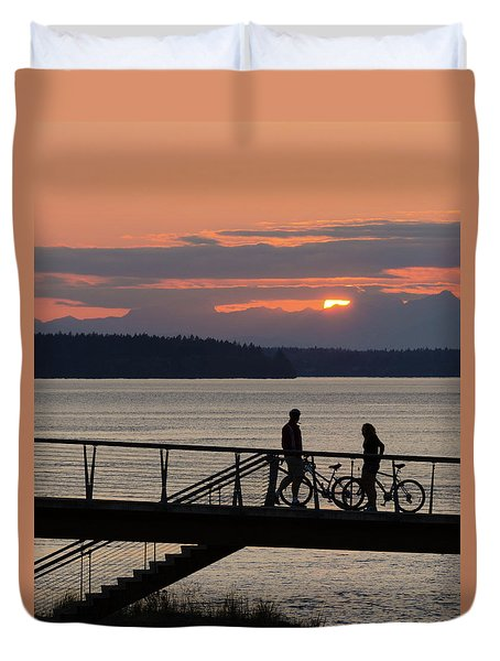 Bikers At Sunset Duvet Cover