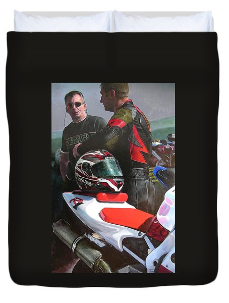 Duvet Cover featuring the painting Bikers At The Horseshoe Pass by Harry Robertson