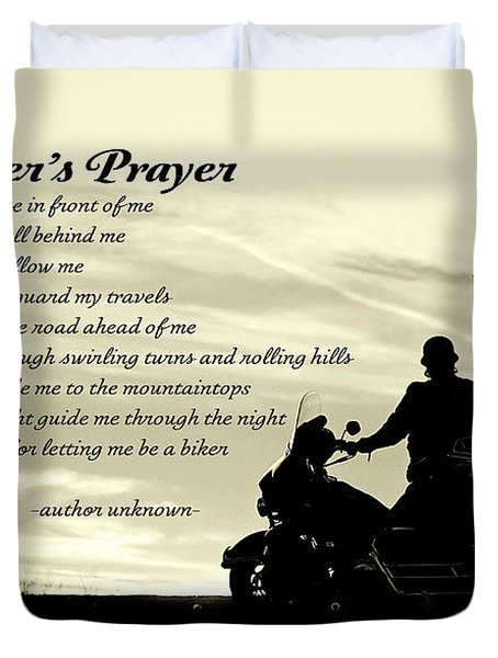 Biker's Prayer Duvet Cover