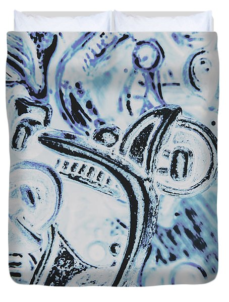 Bikes And Blue Cities Duvet Cover