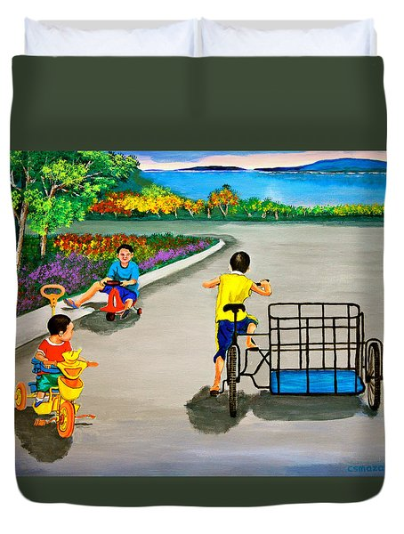 Duvet Cover featuring the painting Bikes by Cyril Maza
