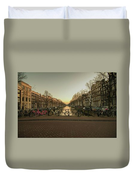 Bikes On The Canal Bridge Duvet Cover