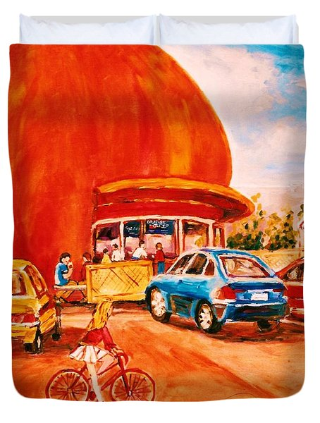 Biking Past The Orange Julep Duvet Cover by Carole Spandau