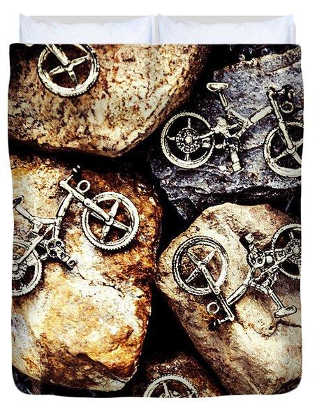 Biking Trail Scene Duvet Cover
