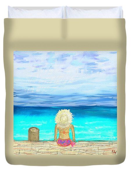Bikini On The Pier Duvet Cover