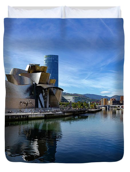 Bilbao In Autumn With Blue Skies Next To The River Nervion Duvet Cover
