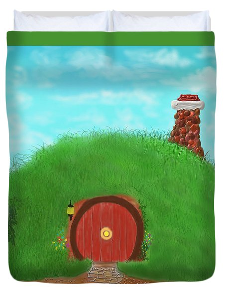 Duvet Cover featuring the painting Bilbo's Home In The  Shire by Kevin Caudill