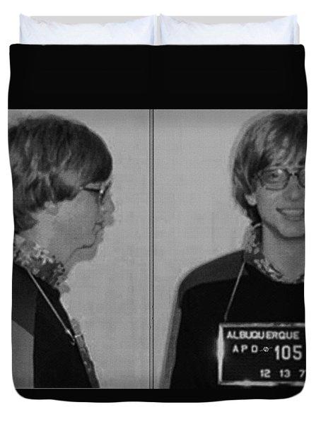 Bill Gates Mug Shot Horizontal Black And White Duvet Cover by Tony Rubino