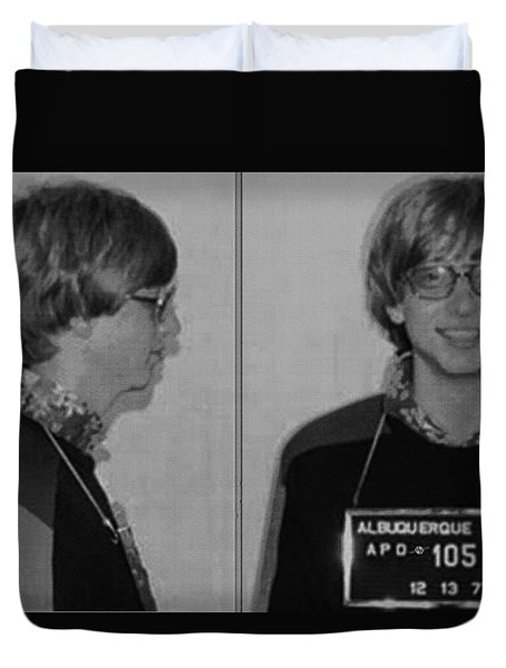 Bill Gates Mug Shot Horizontal Black And White Duvet Cover