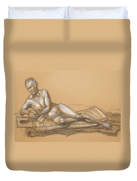 Duvet Cover featuring the drawing Bill Reclining by Donelli  DiMaria