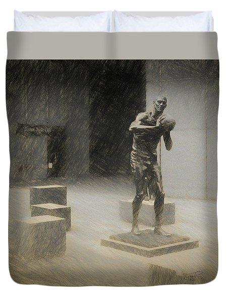 Bill Russell Statue Duvet Cover