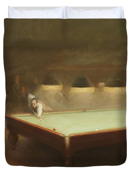 Billiard Match At Thurston Duvet Cover