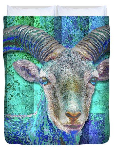 Billy Goat Blue Duvet Cover