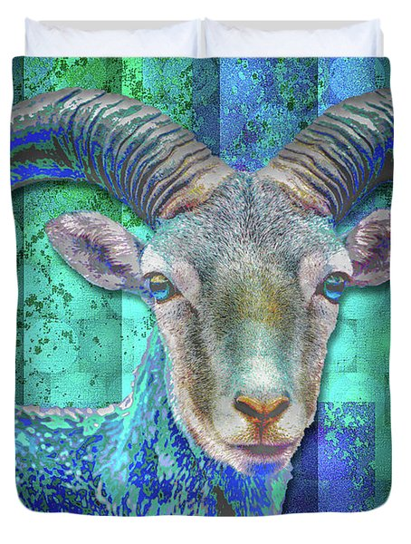 Billy Goat Blue Duvet Cover