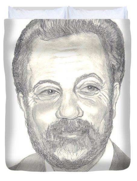 Duvet Cover featuring the drawing Billy Joel Portrait by Carol Wisniewski