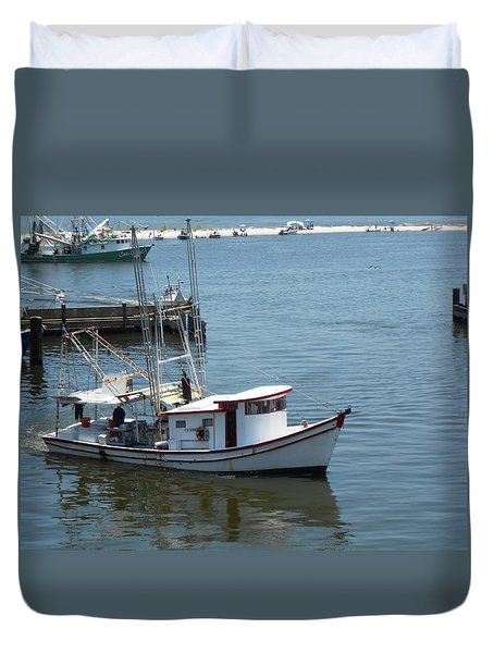 Bilouxi Shrimp Boat Duvet Cover by Cynthia Powell