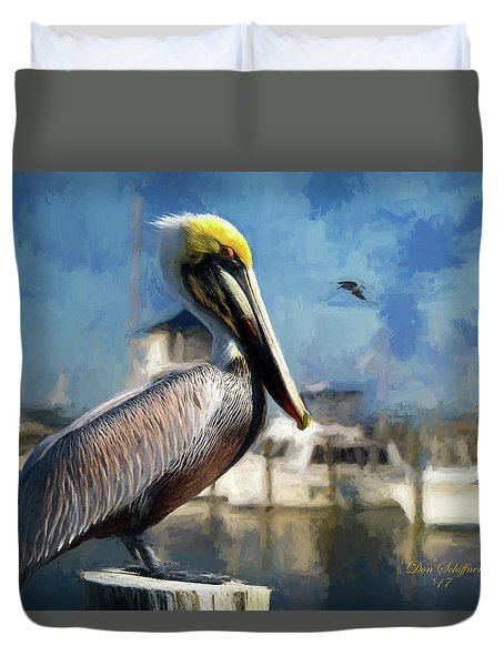 Biloxi Harbor Pelican Duvet Cover