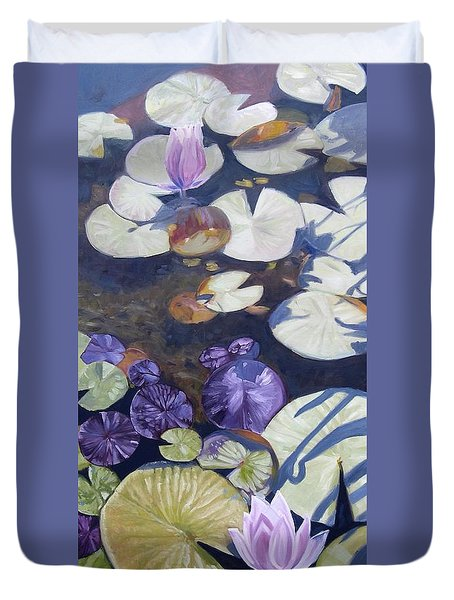 Duvet Cover featuring the painting Biltmore Lilypads by Robert Decker
