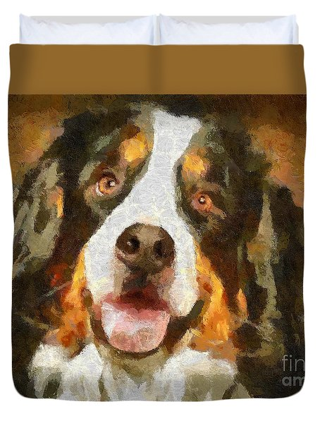 Bimbo - Bernese Mountain Dog Duvet Cover by Dragica  Micki Fortuna
