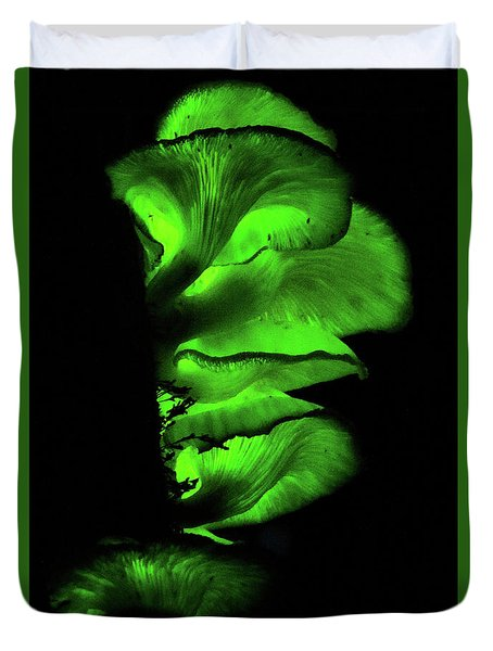 Duvet Cover featuring the photograph Bio-luminescent Toadstools Glowing  by Max Allen