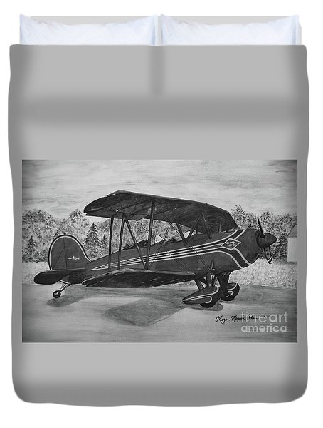 Biplane In Black And White Duvet Cover