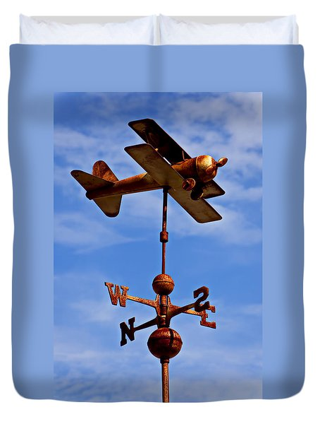 Biplane Weather Vane Duvet Cover by Garry Gay