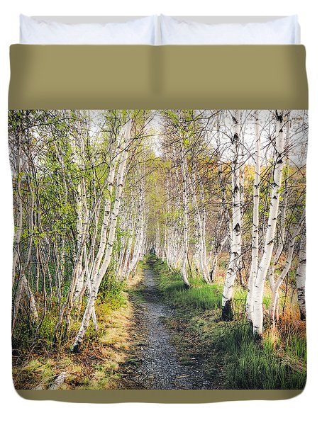 Duvet Cover featuring the photograph Birch Alley II by Robert Clifford