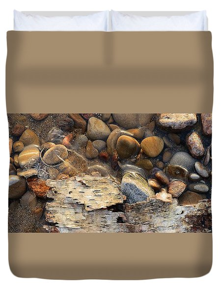 Birch Bark And Ice In The Creek Four  Duvet Cover