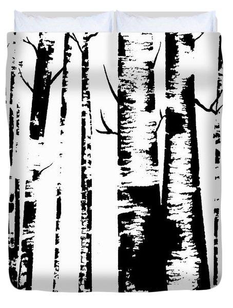 Birch Forest Black Duvet Cover