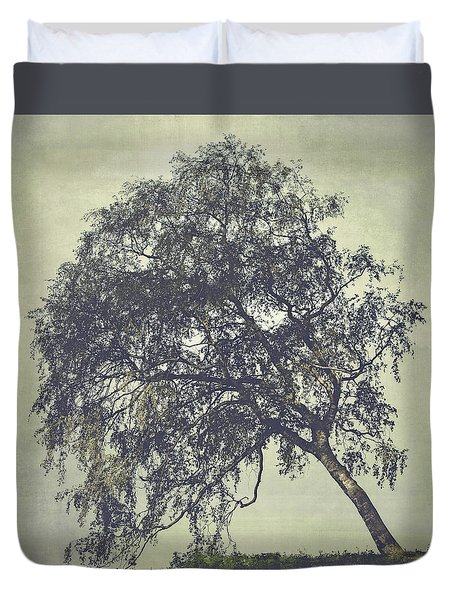 Duvet Cover featuring the photograph Birch In The Mist by Ari Salmela