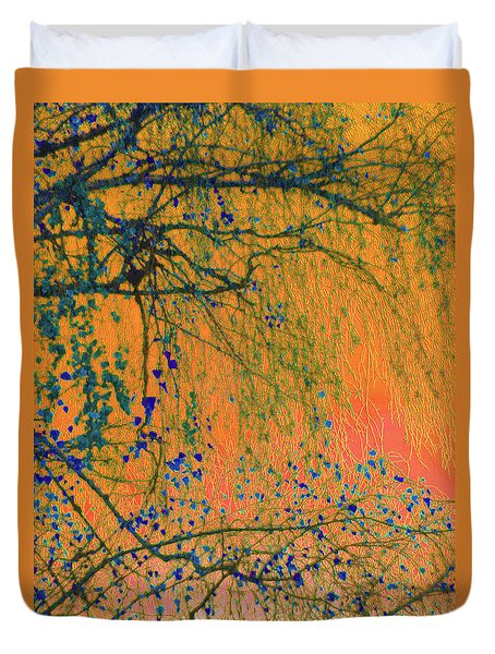 Duvet Cover featuring the photograph Birch Tree And Orange Sky - Winter by Brooks Garten Hauschild