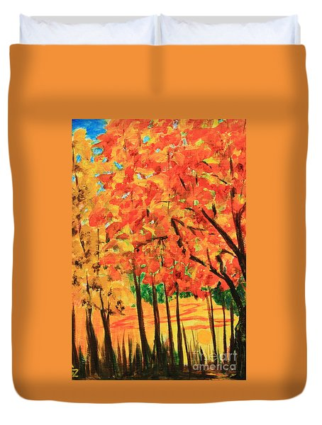 Birch Tree /autumn Leaves Duvet Cover
