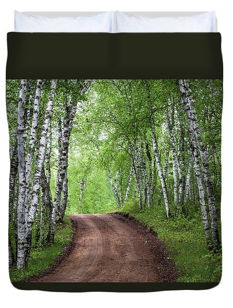 Birch Tree Forest Path #3 Duvet Cover