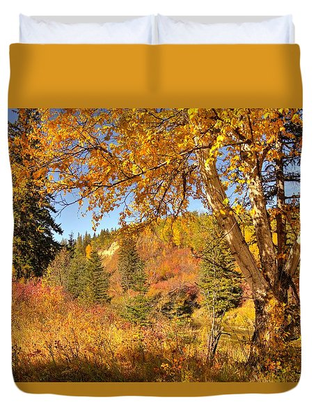 Duvet Cover featuring the photograph Birch Tree In Autumn by Jim Sauchyn