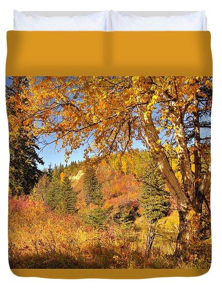 Birch Tree In Autumn Duvet Cover