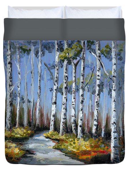 Birch Tree Path Duvet Cover