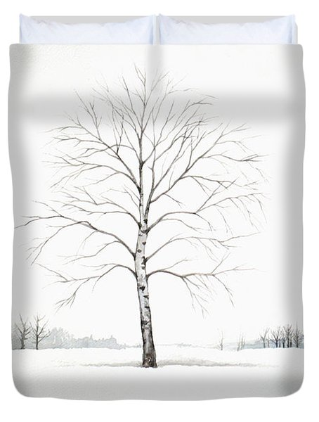 Birch Tree Upon The Winter Plain Duvet Cover