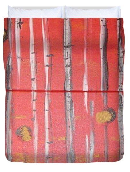 Birch Trees - Red Duvet Cover